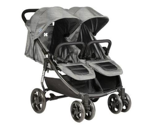 Baby Tandem Double Stroller Twin Pushchair Pram Buggy Kikka Boo Different Design (Grey) Kikka Boo Lightweight aluminum frame 2 independent adjustable backrests 2 detachable bumpers 1