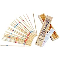 Kaemma Baby Educational Wooden Traditional Mikado Spiel Pick Up Sticks Tool With Box Game Developing Math Ability(Color:multicolored)