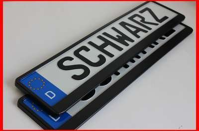 2-x-Kennzeichenhalter-SCHWARZ-Kennzeichenhalterung-im-Set-mit-4-Befestigungsschrauben-Montageanleitung-neue-KFZ-Schein-Schutzhlle-alles-Neu-OVP-TOP-ANGEBOT