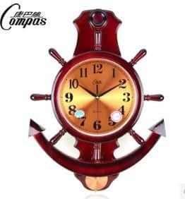 horloge murale moderne design grand cuisine pendule Ancre bateau voile bordeaux