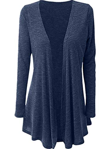 TEBAISE Damen Lange Strickjacke Feinstrick Cardigan Longstrickjacke Mit Offenem V-Ausschnitt Und Melierung Outerwear Winter Herbst