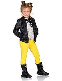 5a32efcfc52a2f Futuro Fashion Full Length Cotton Girls Leggings Plain Pants for Kids Yellow …