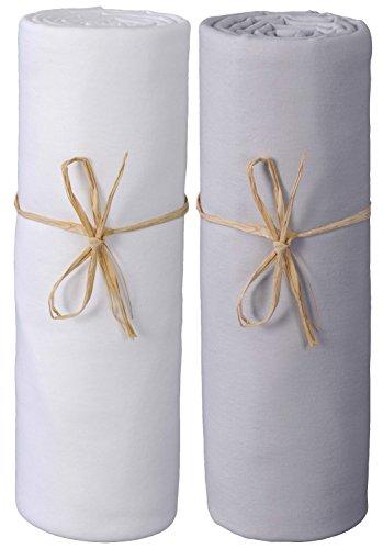 P'tit Basile - Lot de 2 Draps housse bébé 60x120 cm, Blanc/ gris perle. Jersey de coton Bio. Extensibles avec élastique tout autour, Coton peigné de qualité supérieure
