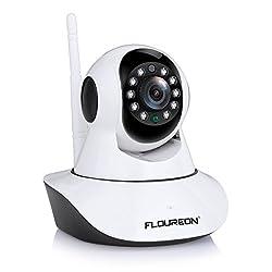 FLOUREON 720P IP Kamera WLAN Überwachungskamera Pan/Tilt IP Cam P2P Netzwerkkamera Baby Monitor 2 Wege Audio IR Nachtsicht Bewegungsmelder