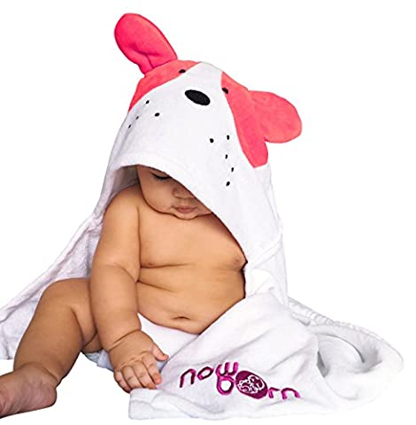 Baby Hooded Bath Towel – Cute Puppy Dog Animal Design – 100% Cotton Material (Pink)