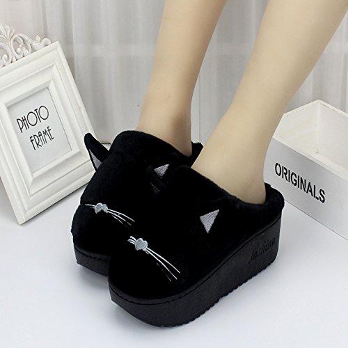 LaxBa Mesdames Accueil Parole de chaussons moelleux agréable Cotton-Padded , Chaussures Semelle Black