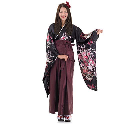 Princess of Asia Japan Damen Geisha Samurai Kimono Outfit Kostüm S M 36 38 40 (Schwarz & Weinrot)