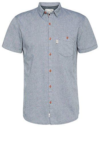 Tom Tailor Denim für Männer Shirt / Blouse gemustertes Kurzarm-Hemd mit Tasche White