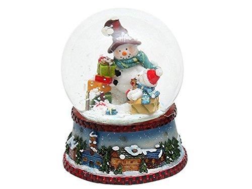 Wunderschöne Schneekugel, Schneemann mit blauem Schal, Ø 6,5 cm