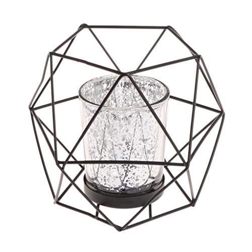 Wanfor 3D Geometrischer Kerzenhalter aus Metall für Hochzeit, Heimdekoration, 3 Farben, Eisen, Schwarz, Einheitsgröße