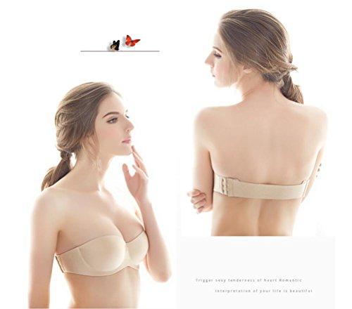 FENGHAO Sezione sottile delle donne Bra Brace in spalla senza spalline Backless Reusable invisibile Bras soddisfare matrimonio e festa beige