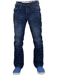 Hommes Crosshatch Lopes De Marque Jeans Multi Poche Boutonné Pantalon Jeans