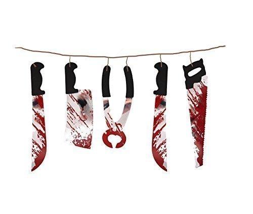 The arlequin brand - ghirlanda decorativa di halloween in plastica con strumenti di tortura, dimensioni: 1,8 m