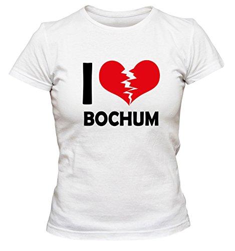 I don\'t love Bochum FUN Damen T-Shirt, Größe:XL;Farbe:weiss