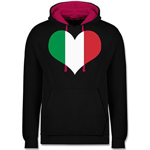 Länder - Italien Herz - Kontrast Hoodie Schwarz/Fuchsia