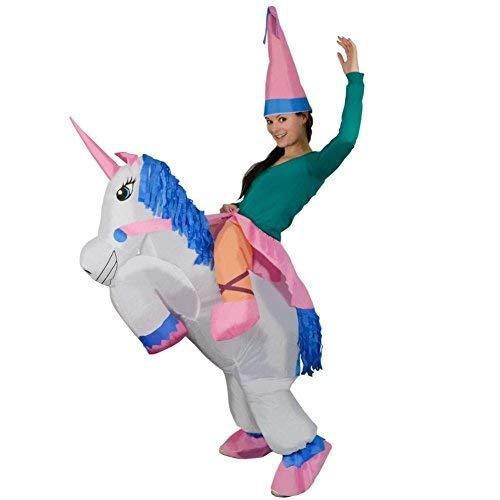 Rexco 219407 Aufblasbares Einhorn Erwachsenen Kostüm Hut Prinzessin Pferd Blow Up Junggesellinnenabschied Outfit, Männer, Frauen, Jungen, Mädchen, mehrfarbig
