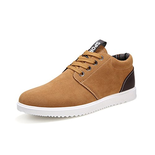 Men's England Style Round Toe Warm Plush Casual Shoes brown