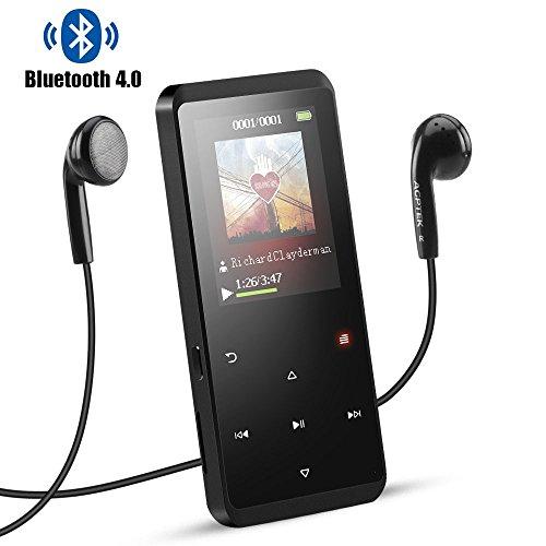 Agptek lettore mp3 8 gb con bluetooth 4.0, a07tb lettore musicale metallico con altoparlante, radio fm, pulsante di tocco, memoria estendibile fino a 128 gb, nero