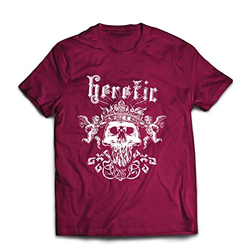 lepni.me Männer T-Shirt Heretic King Skull - Krone des Ruhmes, Skelett Gesicht (XX-Large Burgund