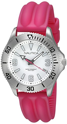 Nautica NAC 102 Women's Quartz Watch with White Dial Analogue Display and Pink Silicone Strap A11531M