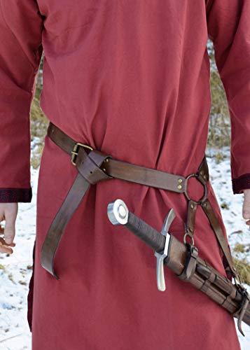 Mittelalter Schwertgürtel aus braunem Leder – Mittelalter Schwerthalter mit Gürtel von Battle-Merchant - 3