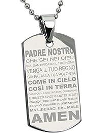 Acero Inoxidable La Oración del Señor Italiano Traducida Placa de Identificación del Colgante (Con el Grabado Personalizado)