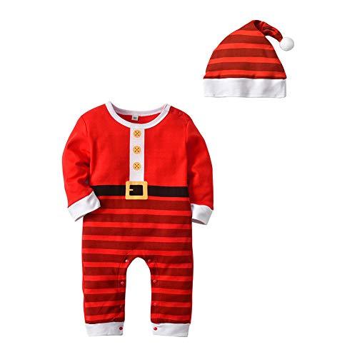 Ansemen Baby Santa Claus Nachtwäsche + Hut Anzug - Kleinkind Langarm Romper Xmas Body Winter Homewear Baumwolle Pyjamas 1 T - 3 T