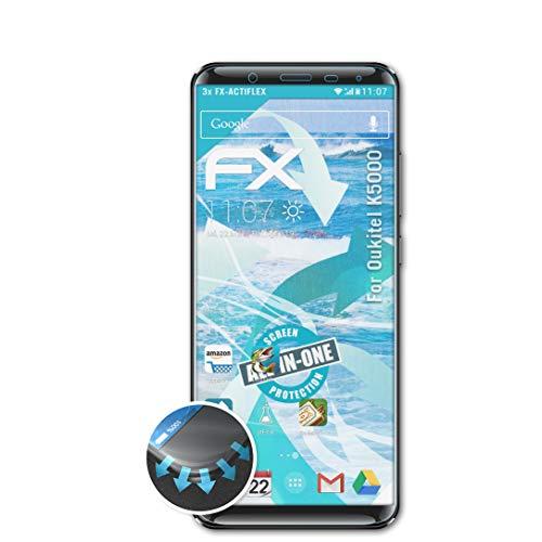 atFolix Schutzfolie passend für Oukitel K5000 Folie, ultraklare & Flexible FX Bildschirmschutzfolie (3X)