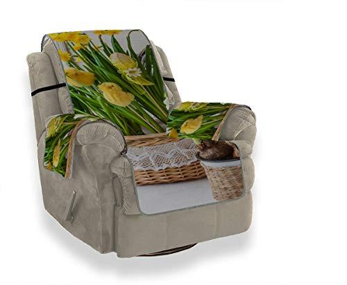 JOCHUAN Frühlings-gelbe Blumen-Narzisse mit Gartensofa-Sitzbezug-Sofa-Couch-Kissen-Couch-Schutz-Abdeckungen für Sofa-Möbel-Schutz für Haustiere, Kinder, Katzen, Sofa