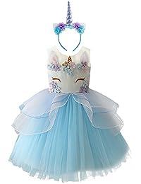 Vestido de Tutu Princesa Unicornio Arco iris Fiesta de cumpleaños Disfraz Bautizo para Niña Vestido Infantil Ceremonia Fiesta Multicolor Bebe Niña Ropa Verano Pequeño caballo Faldas