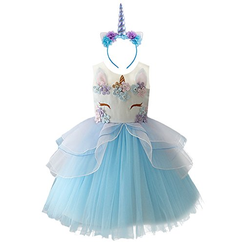 OBEEII Mädchen Einhorn Cosplay Kleid Kleinkind ärmellose Tüll Tutu Prinzessin Kleid Kinder Hochzeit Geburtstag Festzug Halloween Weihnachten Karneval Party Kleid Kostüm Dress up Blau 10-11 - Tanz Kostüm Dress Up