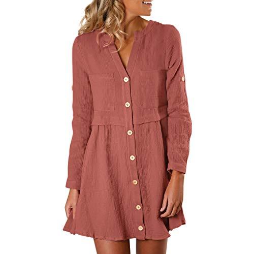 Plissee-rüsche Shirt (Floweworld Damen Elegante Minikleider Winter Fashion Solid Color Rüschen Plissee Kleider Casual Langarm Button Shirt Kleider)