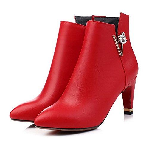 VogueZone009 Damen Niedrig-Spitze Schließen Zehe Blend-Materialien Hoher Absatz Stiefel Rot-Reißverschluss
