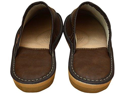 BeComfy VIP Pantoufles Pour Hommes en Classique Cuir Haut Resistance Chaussures 40-46 (Choisissez UNE Boîte Cadeau!) Modèle FM88 Marron