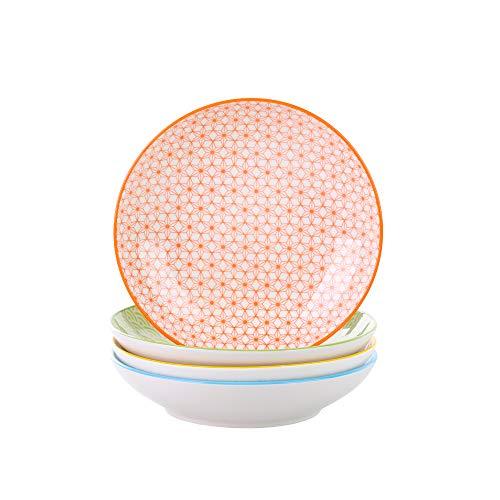 Vancasso Natsuki 4-teilig Porzellan Suppenteller, Ø 21,5 cm Tiefteller, 700ml