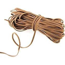 Ecloud Shop® Marrón gamuza sintética rebordear del cordón de cuero cuerda de rosca de 18 metros de largo