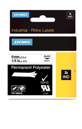 Dymo 1805442 Rhino Industrielle Polyester-Etiketten (6 mm x 5,5 m, Selbstklebend) schwarze Schrift auf weiß