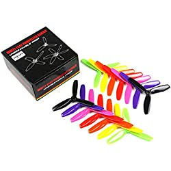 Tellaboull For 7 Pares Kingkong/LDARC 5X4.5X3 5045 5 Pulgadas 3-Blade Rainbow Colorful Hélice CW CCW para RC Drone FPV Racing Repuestos
