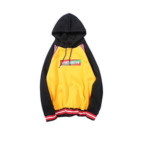 Irypulse Herren Kapuzenpullover Hoodies Sweatshirts Pullover Langarm Stitching Farben Alphabet Stickerei Casual Tops Mode Trend Hip Hop Jugendliche Jungen für Freizeit Outdoor - Original Design Dye-pullover Sweatshirt