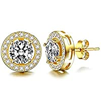 STLG 925 Plated Silver Cluster Earrings Round Cut Stud Earrings Hypoallergenic Earrings inlay with Cubic Zirconia For Women and Girls