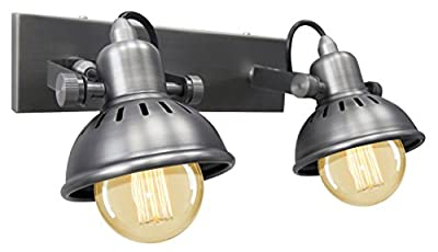 Vintage Twin Wall Light Dark Grey Pewter finish Brooklyn Style Adjustable Swivel Spot Wall Light M005 made from Stainless Steel by Long Life Lamp Company