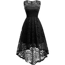 d2d3080acf86 MUADRESS Elegant Kleid aus Spitzen Damen Ärmellos Unregelmässig  Cocktailkleider Party Ballkleid