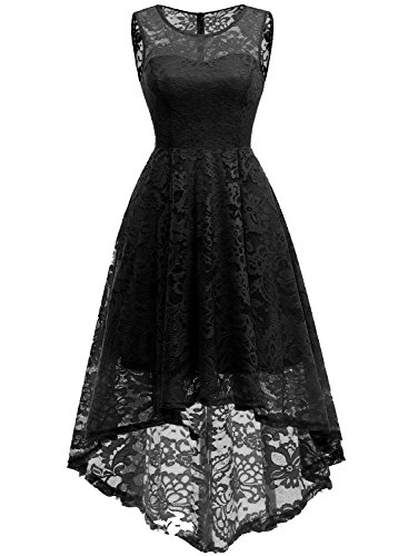 MuaDress Elegant Kleid aus Spitzen Damen Ärmellos Unregelmässig Cocktailkleider Party Ballkleid