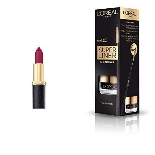 L'Oreal Paris Color Riche Moist Matte Lipstick, 263 Pure Garnet,3.7g + L'Oreal Paris Super Liner Gel Intenza 36H, Profound Black,...
