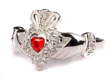 Claddagh-Ring Januar Geburtsstein Rot (Geburtsstein Januar-ring)