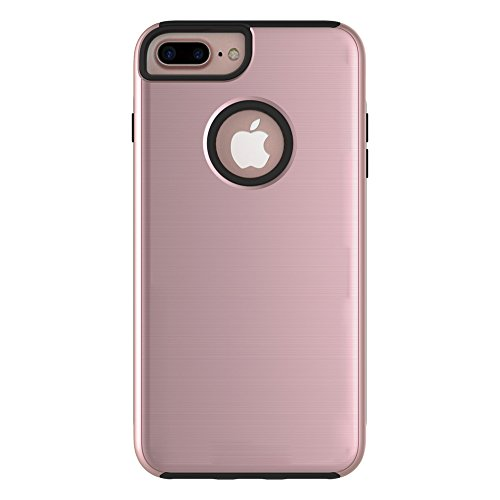 EKINHUI Case Cover Für Apple IPhone 7 Plus Fall, gebürstet Metallic Finish Back Cover Dual Layer 2 In 1 Hybrid Hard PC Soft TPU Stoßdämpfer Stoßfeste Gehäuseabdeckung ( Color : Black ) Rose Gold