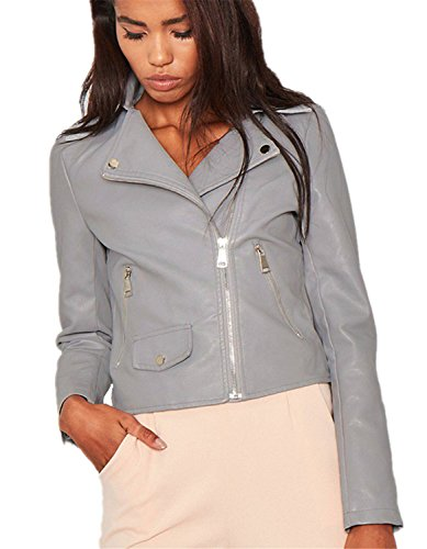 Bomberjacke Damen Faux PU Leather Bikerjacker - Grau