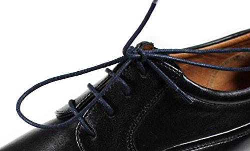 Loco!Laces Gewachste, Bunte, Farbige, Runde Schnürsenkel für Business-Schuhe und Anzug-Schuhe! 80cm Länge 2,5 MM Durchmesser 3er Pack (3X Schwarz)