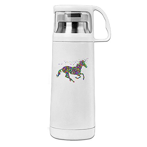 Mensuk Rainbow Unicorn Water Bottle With A Handle Vacuum Insulated Cup For Hot And Cold Drinks Coffee,Tea Travel Thermal Mug,14oz White