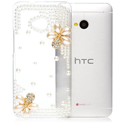 iCues HTC One M7 |  Perlen Blumen Case Klar | [Display Schutzfolie Inklusive] Floral Transparent Klarsichthülle Durchsichtig Klare Klarsicht Strass Glitzer Glitter Luxus Bling Damen Frauen Mädchen Schutzhülle Hülle Cover Schutz